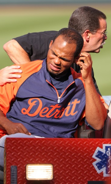 Al Alburquerque #62 of the Detroit Tigers after being struck in the head by a ball during batting practice before the game against the Baltimore Orioles at Oriole Park at Camden Yards on August 12, 2011 in Baltimore, Maryland. Alburquerque received a concussion and was hospitalized overnight for observation. Photo by Keith Allison. Used with permission. All rights reserved. Source: flickr